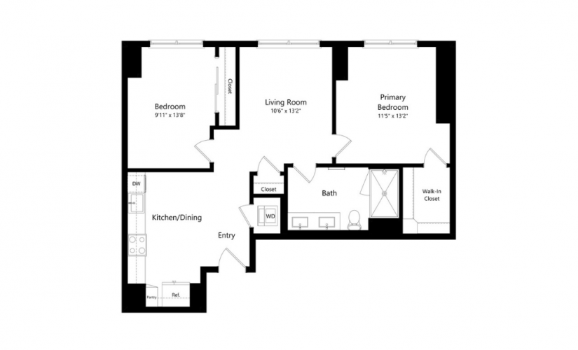 2M.1 - 2 bedroom floorplan layout with 2 baths and 935 square feet.