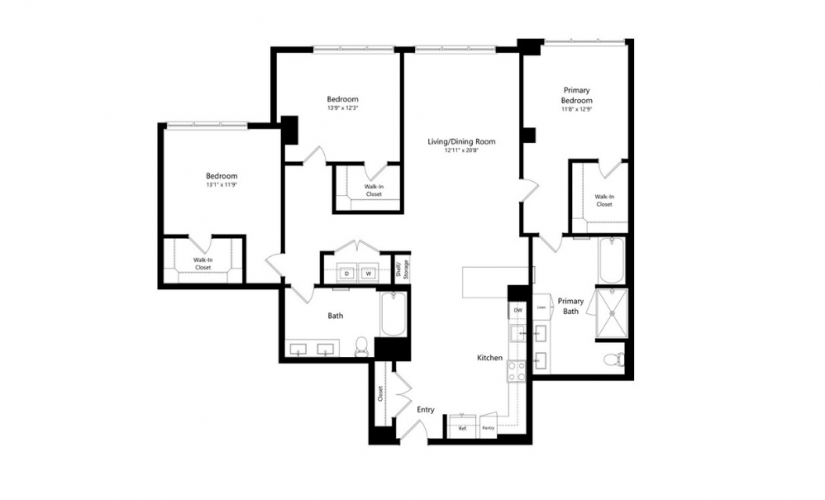 3A.1 - 3 bedroom floorplan layout with 2 baths and 1825 square feet.