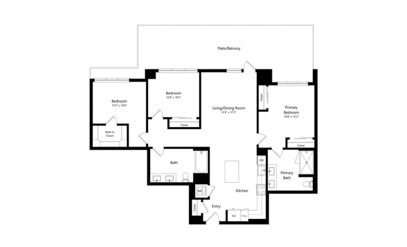 3A.2 - 3 bedroom floorplan layout with 2 baths and 1403 square feet.