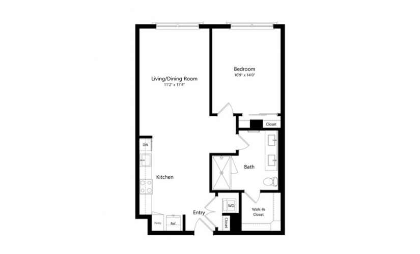 1C.1 - 1 bedroom floorplan layout with 1 bath and 804 to 837 square feet.