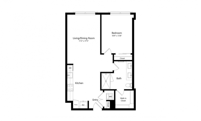 1C1.S - 1 bedroom floorplan layout with 1 bath and 699 square feet.